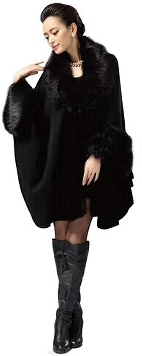PENER Women's Faux Fox Fur Trim Cape Wool Blend Cloak