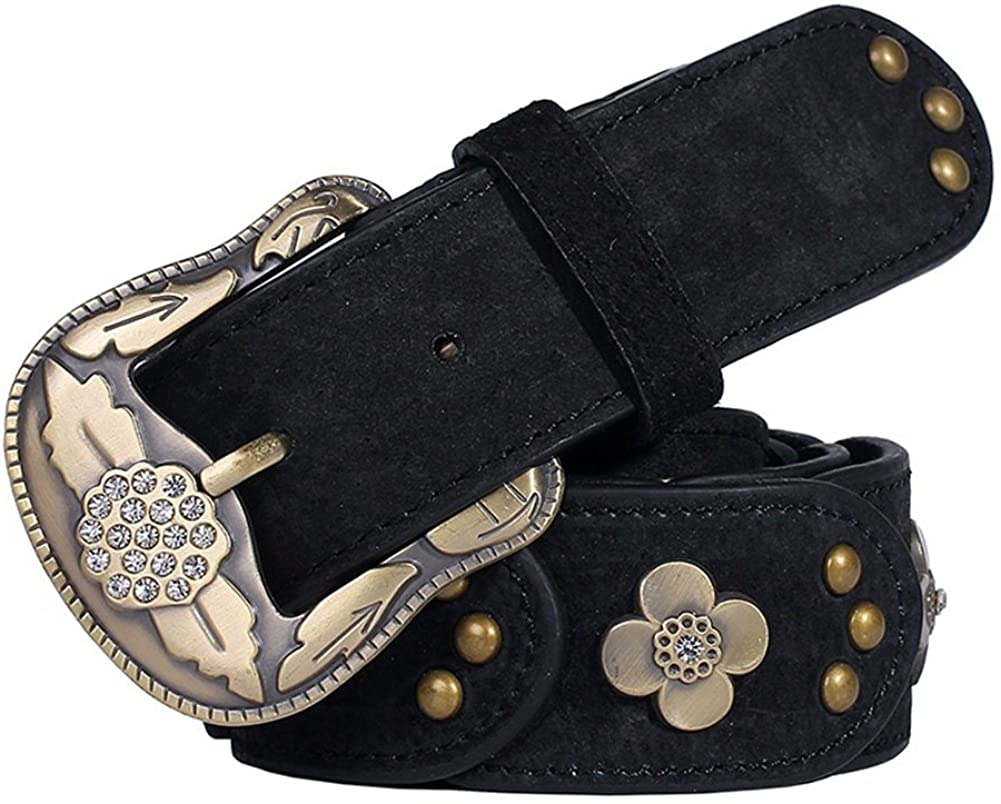 Women's Cowhide Leather Belt with Cubic Zirconia&Pin Buckle-Bronze,Width 1.5inch