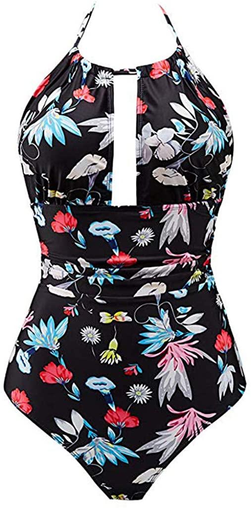 ZEFOTIM Plus Size Bikinis,Women's One Piece Swimwear Backless Tummy Control Monokini Swimsuits