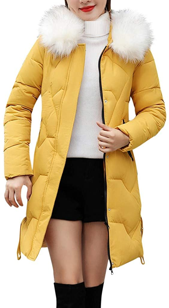 Limsea Womens Outwear Parka Coat Jacket Slim Thick Fur Collar Cotton Solid Color Hooded Warm