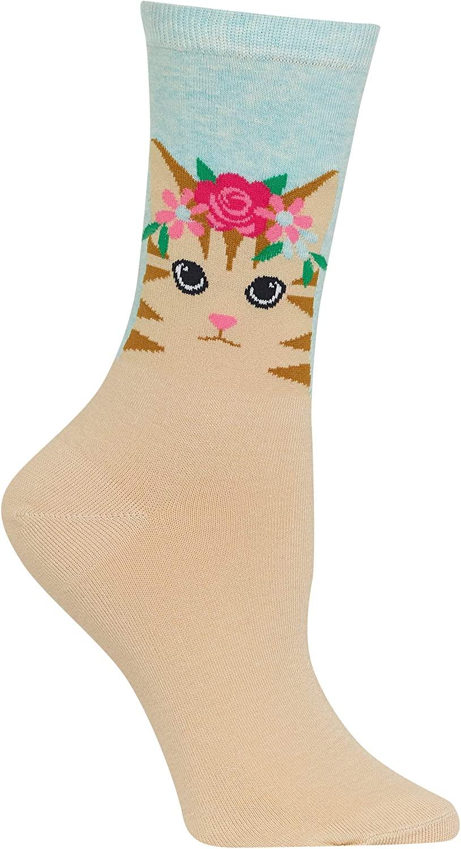 Hot Sox Womens Cat Flower Crown Crew Socks