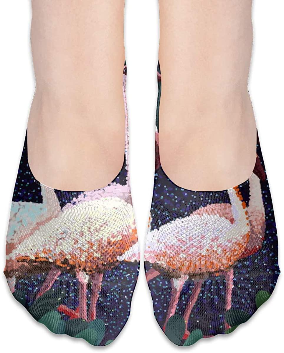 Tropical Hawaiian Beach Flamingo Art No Show Socks Women Low Cut Liner Ankles