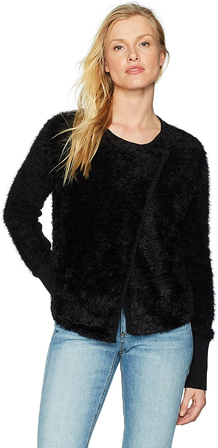 Michael Stars Women's Fluffy Knit Front-to-Back Sweater with Snap Closure