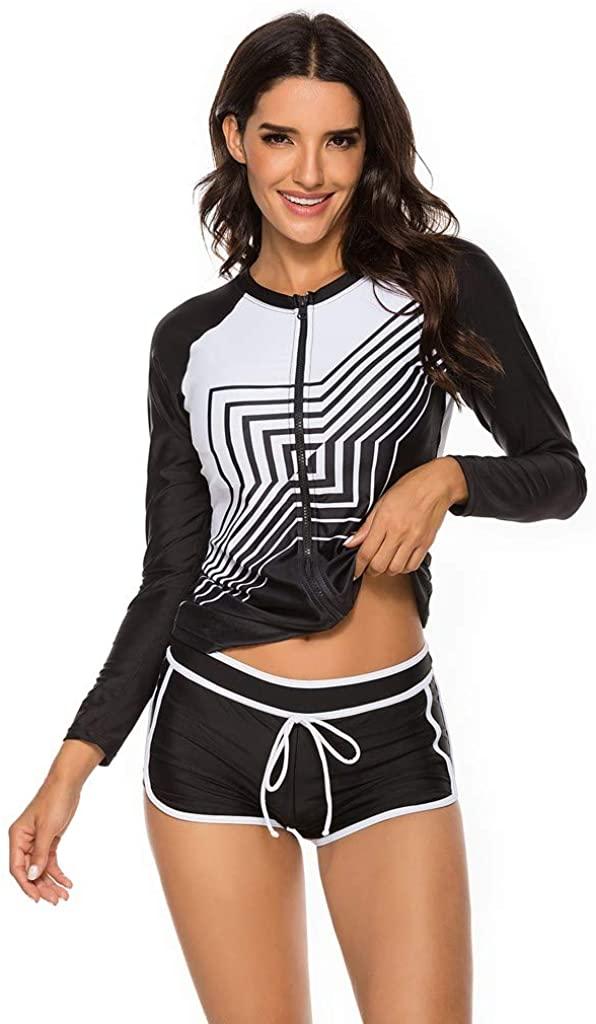 NOMUSING Womens Long Sleeve Rashguard Swimsuit Sport Swimwear Tankini Set Print Quick-Drying Surfing Two Piece Shorts