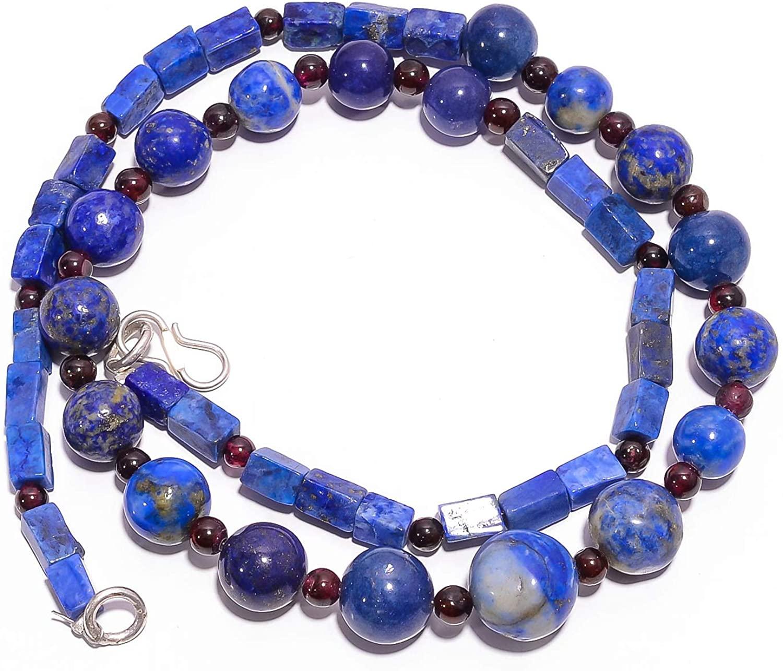 kanta incorporation Natural Lapis Lazuli Mozambique Garnet Smooth Beads Necklace 3-12 mm 18