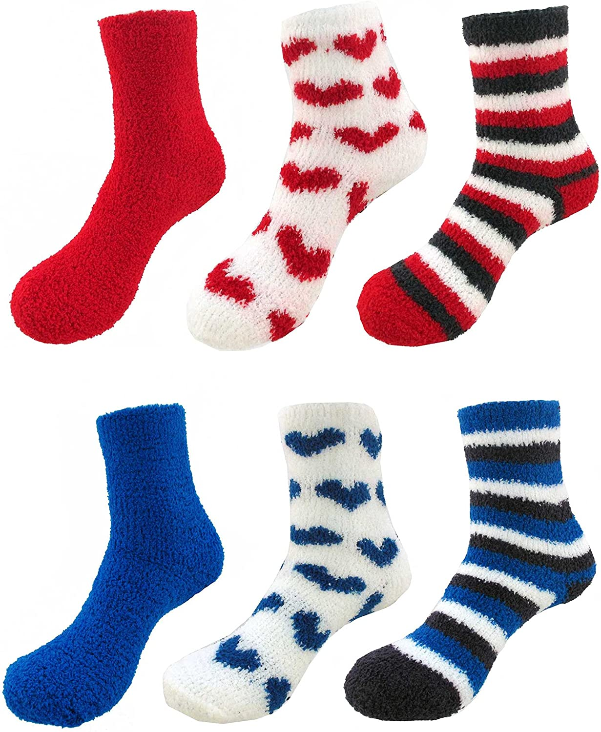 BambooMN Assorted Super Soft Cozy Warm Fuzzy Gradient Socks - 6 Pair Value Pack