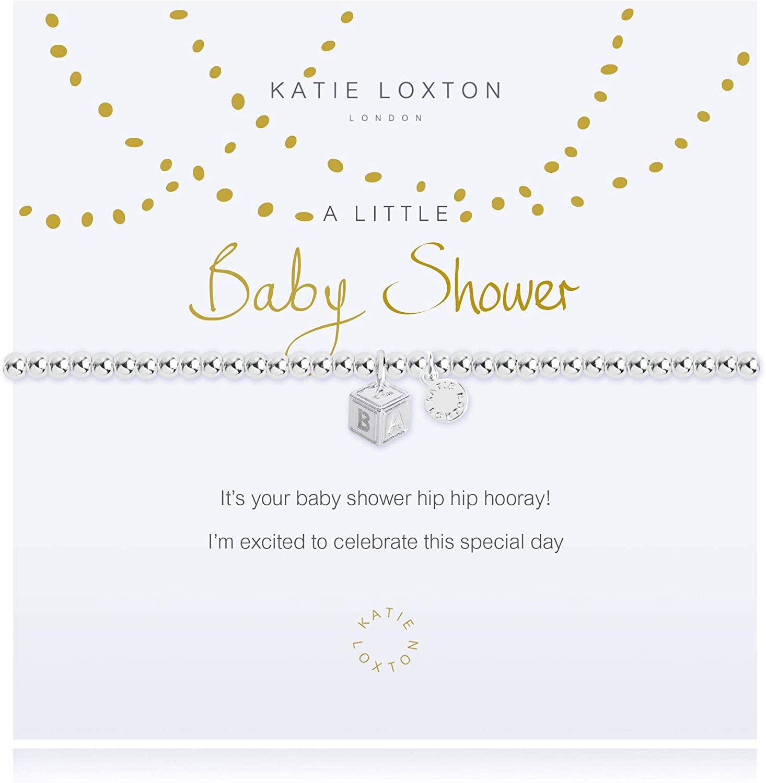 Katie Loxton A Little Baby Shower ABC Block Silver Women's One Size Stretch Charm Bangle Bracelet