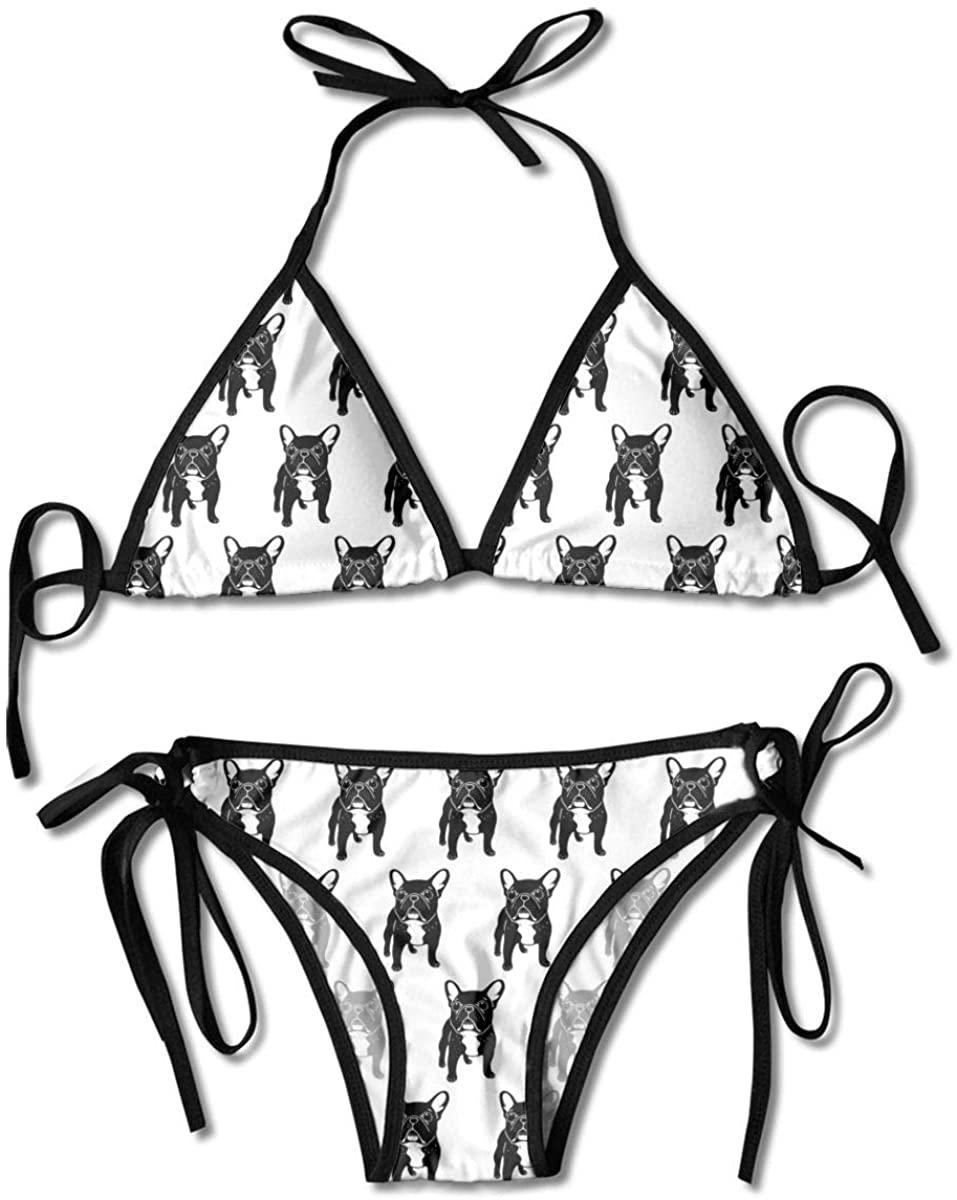 Suzen95 Cute Brindle Puppy Women's Sexy Bikini Set Swimsuit