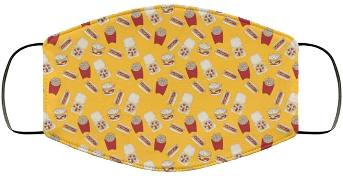 Cute Chips and Burgers Pattern Face Mask Adult Size, Reusable, Washable, 2 Layer Breathable Comfort White One Size