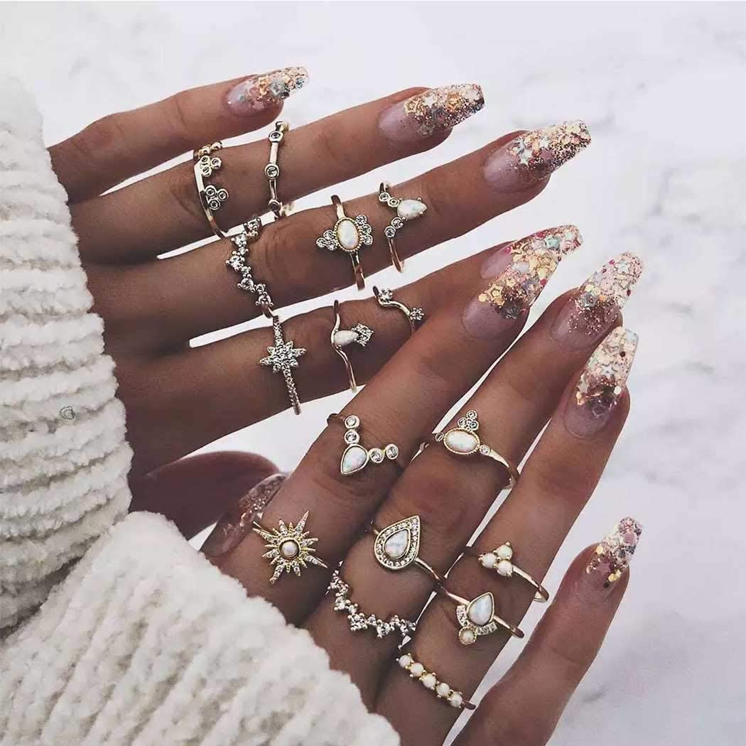 Evazen Boho Vintage Crystal Midi Finger Rings Set Gold Geometric Teardrop Knuckle Stacking Rings for Women and Girls(16Pcs)