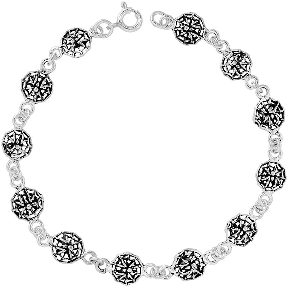 Sterling Silver Spider And Web Link Bracelet