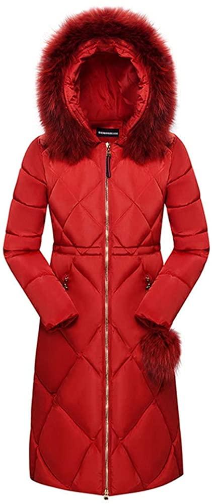 Dotoo 80% White Duck Down Winter Ladies Long Fashion Fur Collar Slim Down Jacket