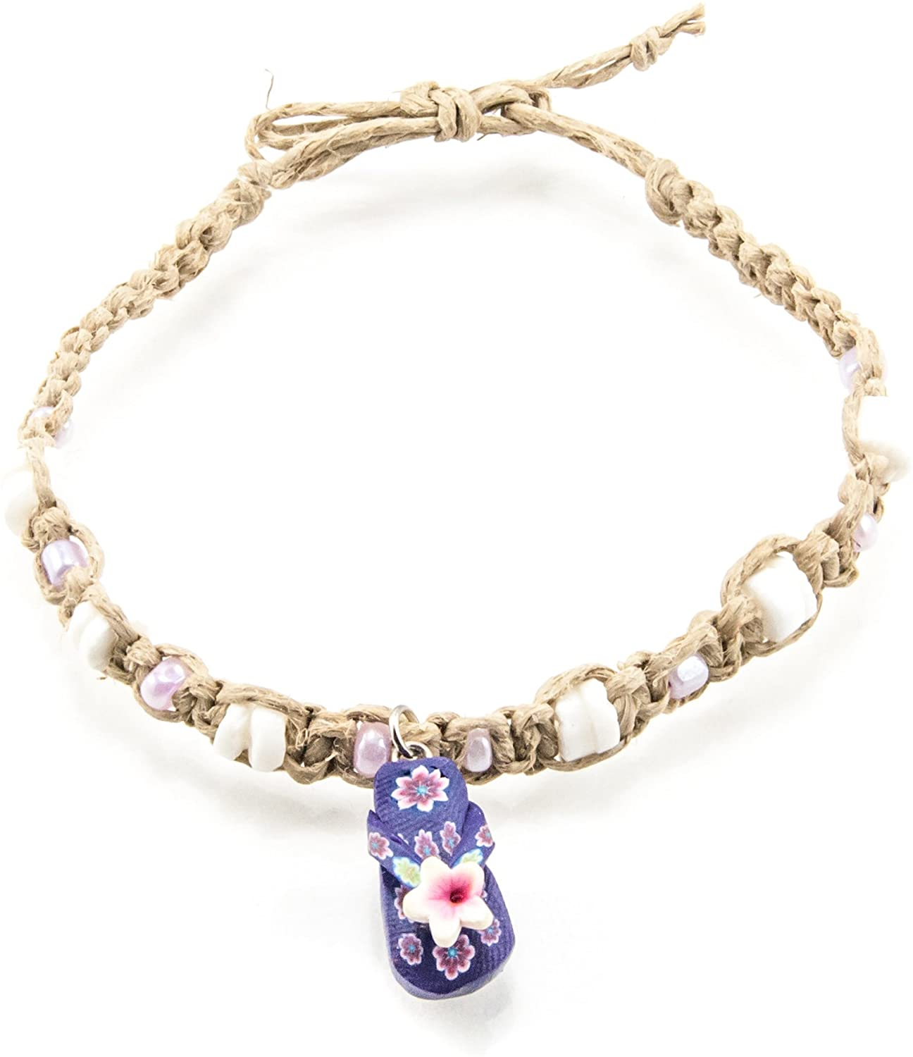 BlueRica Hemp Anklet Bracelet with Purple Glass Beads, Shells & Purple Sandal Charm