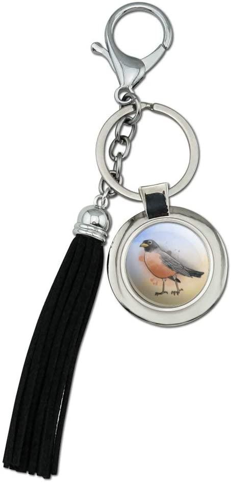 Robin Watercolor Northeastern Bird Chrome Plated Metal Round Leather Tassel Keychain