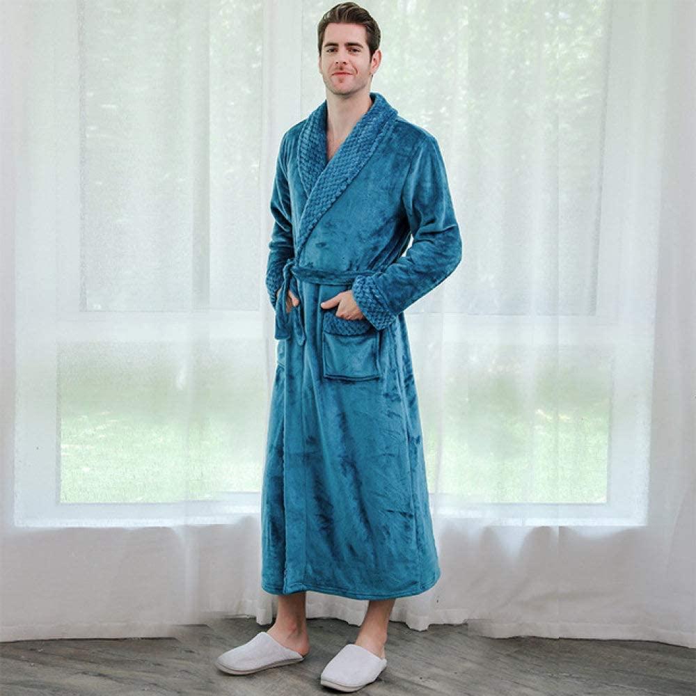 llwannr Bathrobe Robe Nightgown Sleep,Lovers Extra Long Plus Size Winter Warm Flannel Coral Bath Robe Men Women Knitted Waffle Kimono Bathrobe Dressing Gown,Men Blue,L