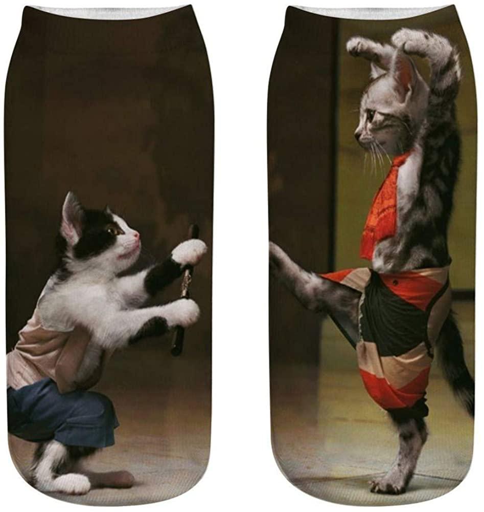 Unisex Socks Funny 3D Fashion Cat Printing Casual Socks Cute Low Cut Ankle Socks Funny Cozy Socks