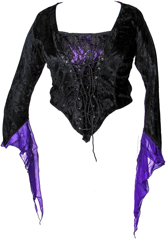 Dark Star Black Velvet Purple Satin Medieval Gothic Lace Corset Top L-1X (L1X)