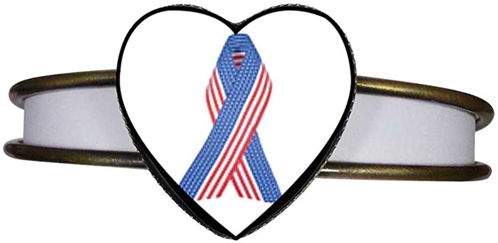 GiftJewelryShop Bronze Retro Style Patriotic Ribbon Heart Cuff Bangle Bracelet Fashion Jewelry