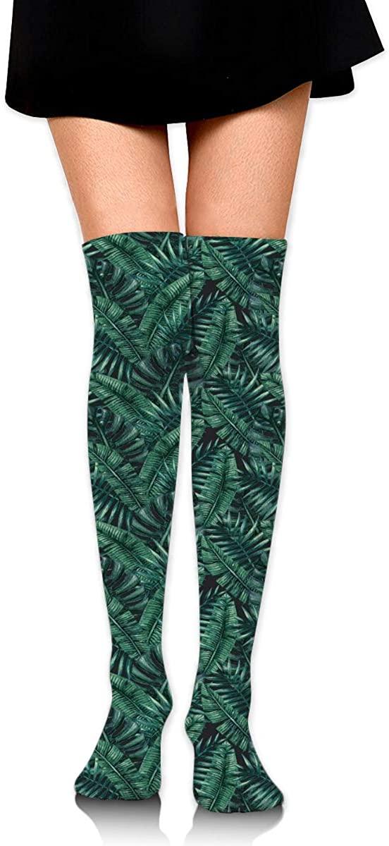 Dress Socks Tropical Jungle Leaves Rainforest Hawaii Summer Knee Hose Stocking