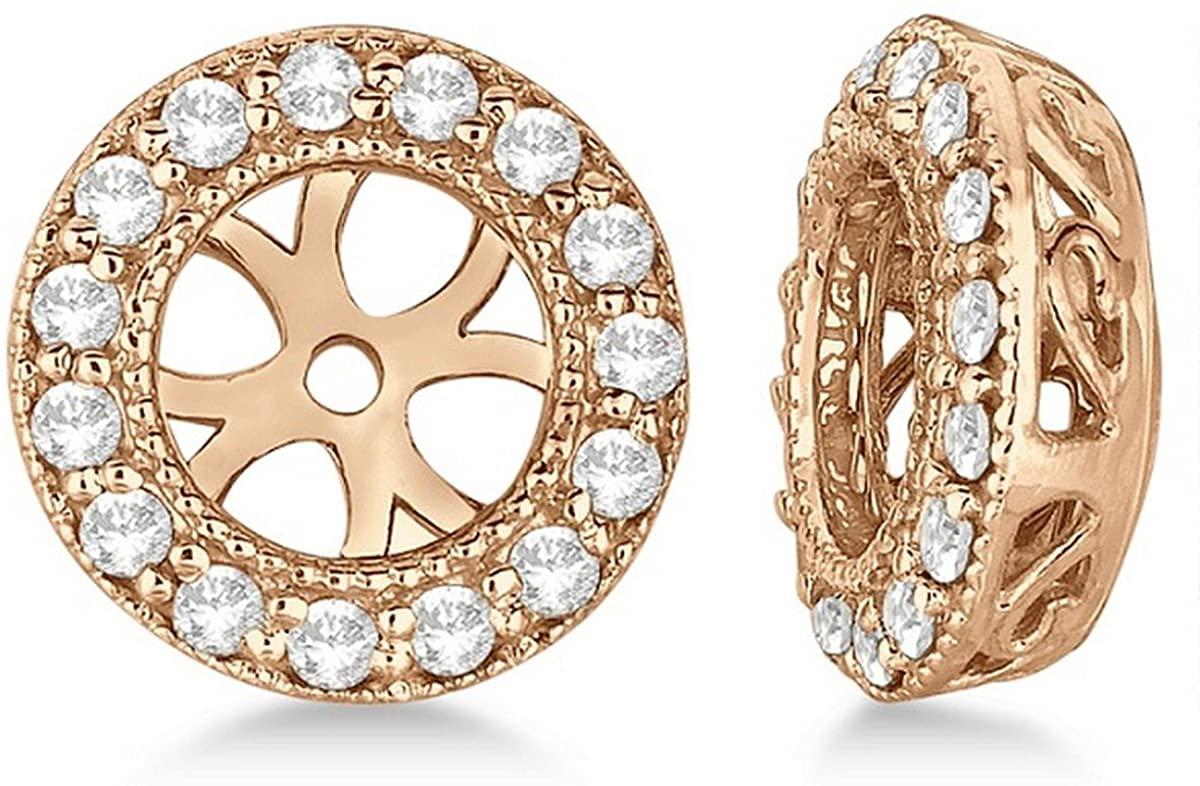 14k Gold Vintage Round Cut Diamond Earring Jackets (0.34ct)
