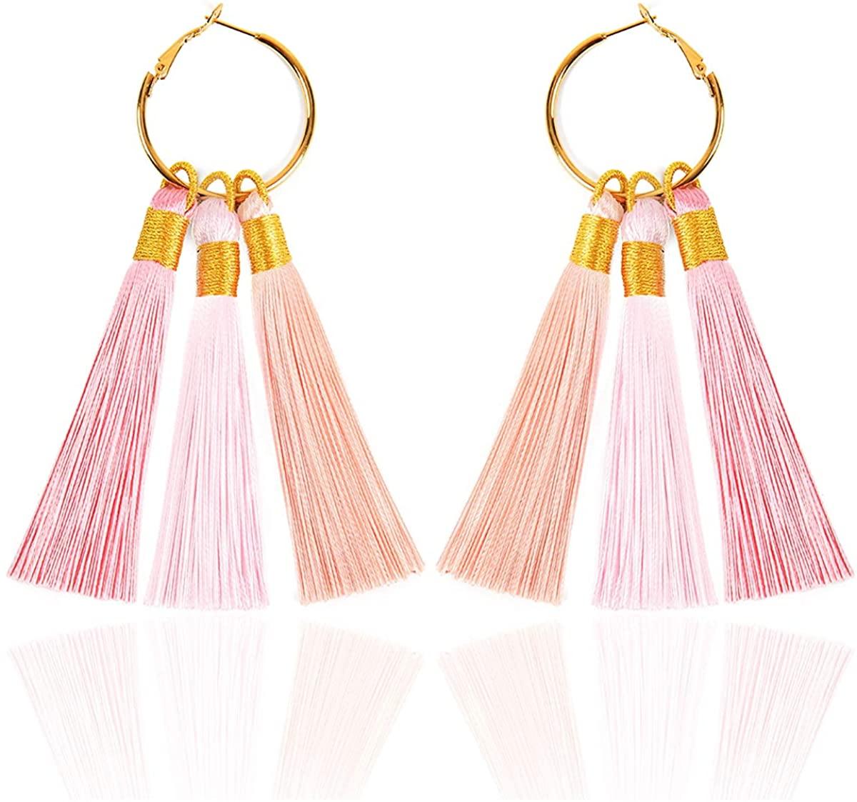 Tassels Dangle Drop Earrings for Women Stainless Steel hoop Handmade Tassel Earrings, Multi Colors
