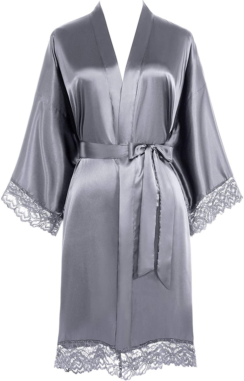 PRODESIGN Satin Kimono Robe Short Pure Color Silky Bathrobe Wedding Bridesmaid Bachelorette Party Robe with Lace Trim