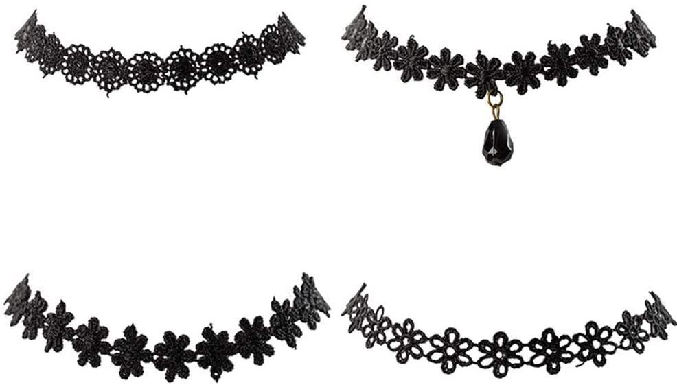 Lee Lam Choker Set, Necklace Black Choker Lace Choker Gothic Necklace for Women Girls,Style #1