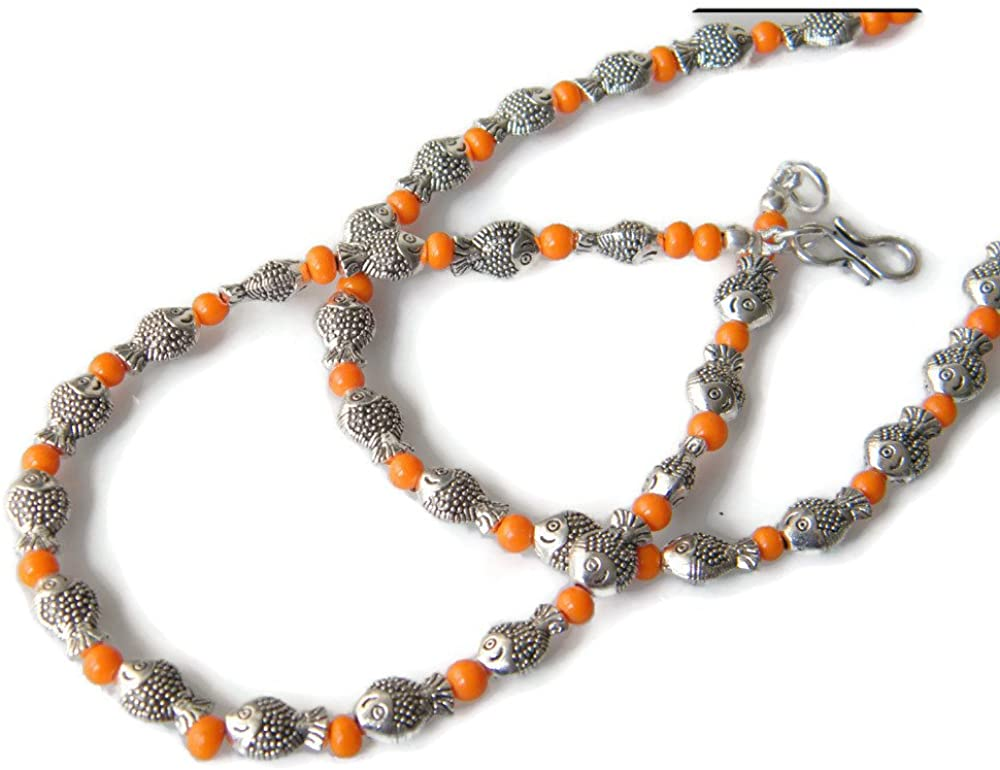 Surbhi Crafts Silver Plated Ankelt, Fish Anklet, One Pair Beautiful Anklets, Beads Anklet, Women Foot Jewelry, AH-8279
