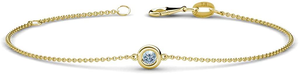TriJewels 3mm Round Aquamarine 1/10 ct Womens Solitaire Station Minimalist Bracelet 14K Gold