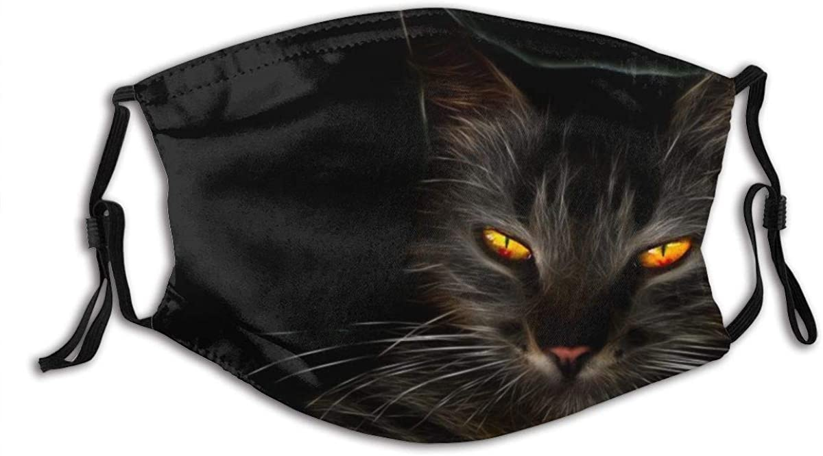 KENADVI Face Cover Black Cat, Dark, Cat Yellow Eyes, Whiskers, Darkness, Kitten Balaclava Reusable Windproof Anti-Dust Mouth Bandanas Outdoor Camping Motorcycle Running Neck Gaiter with 2 Filters