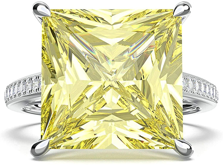Bishilin Wedding Ring Women Silver Plated 12X12MM Princess Cut Yellow Cubic Zorconia Wedding Band Ring