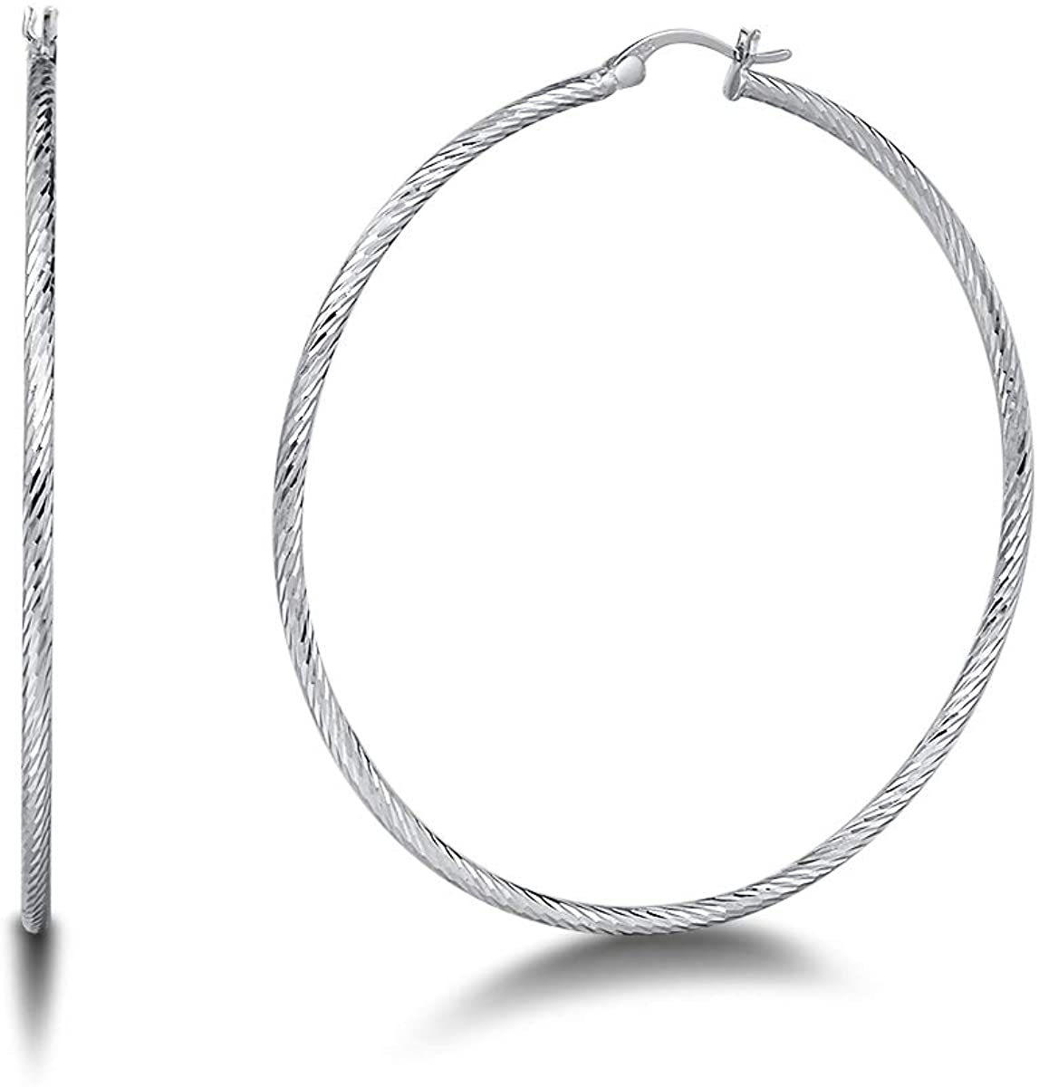 FANCIME White Gold Plated 925 Sterling Silver Extra Large/Big Diamond Cut Lightweight Click-Top Hoop Earrings Jewelry For Women Girls, 40 50 60 mm