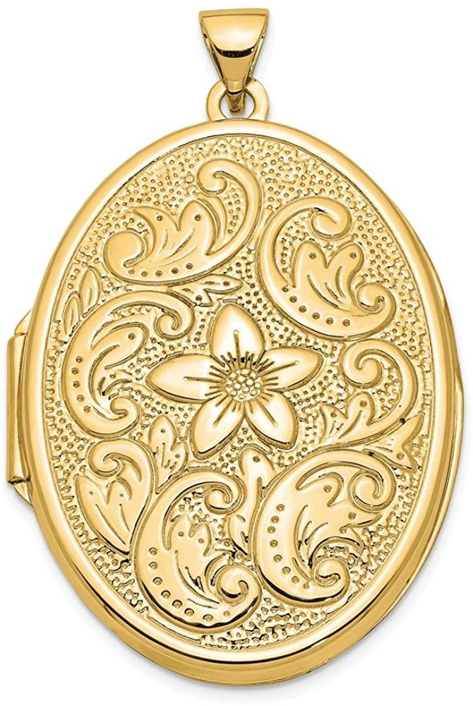 Jewelry Pendants & Charms Lockets 14k 32mm Oval Flower With Scrolls Locket