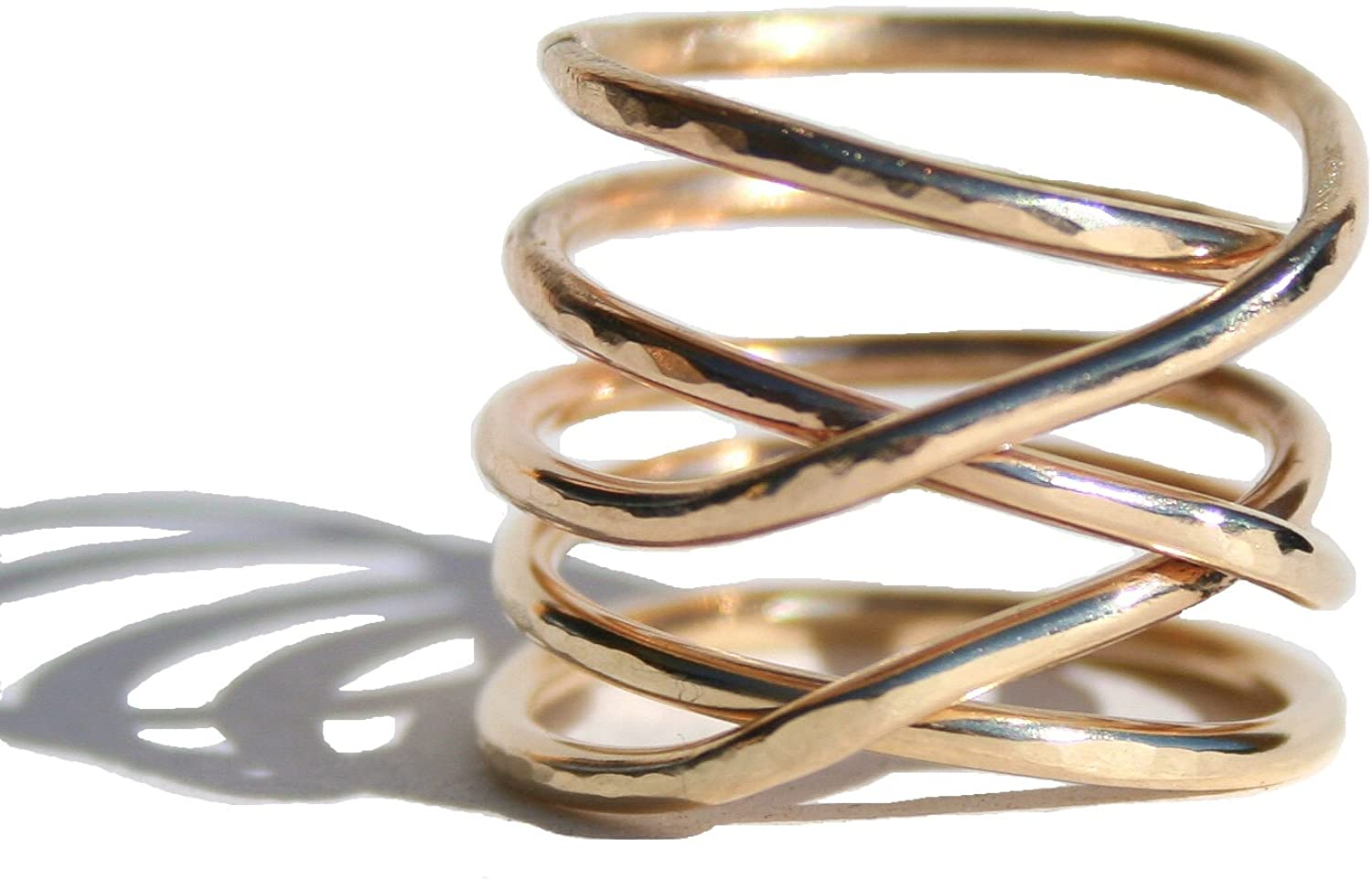 Isabella and Max 14k Gold Filled Twisted Ring - Thick Hammered Stacking Ring