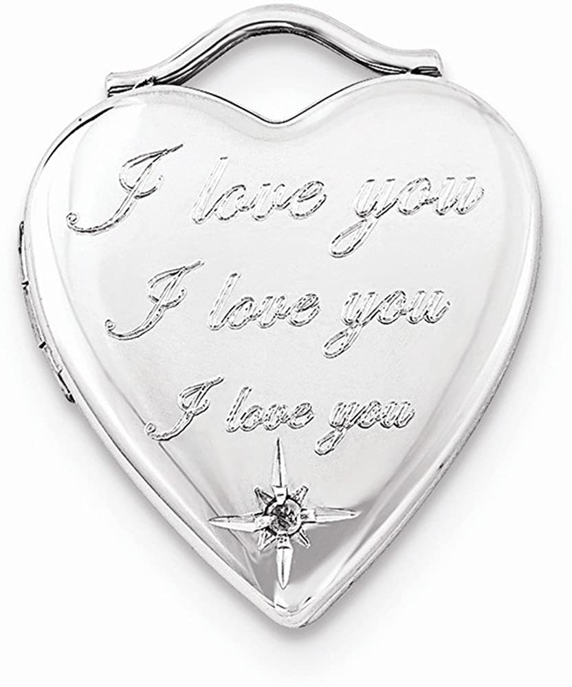 Jewelry Pendants & Charms Lockets Sterling Silver Diamond I Love You 20mm Heart Locket