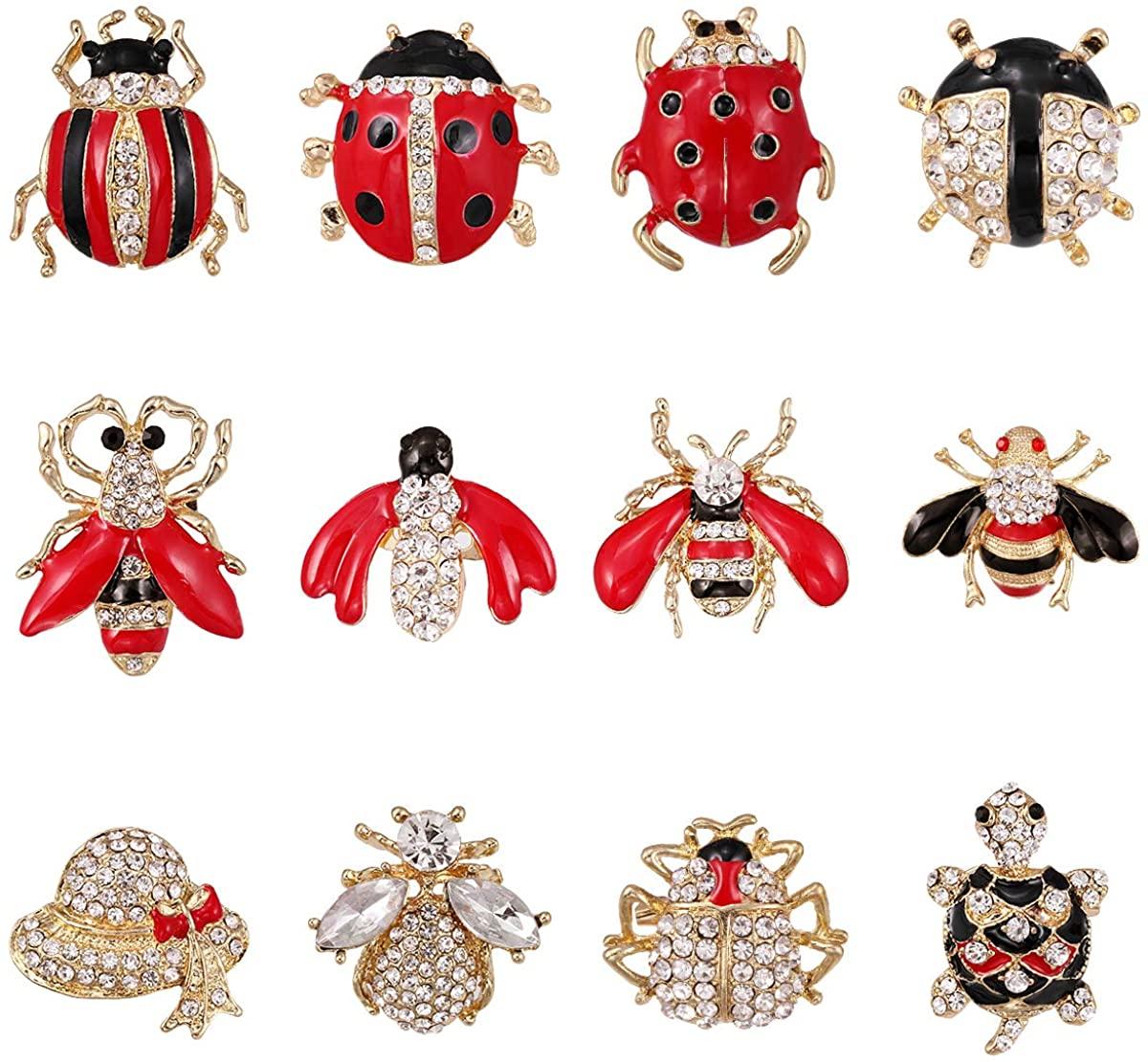 WeimanJewelry Lot 12pcs Enamel Crystal Rhinestone Animal Honeybee Beetle Turtle Insect Brooch Pin Set for Women DIY Decoration