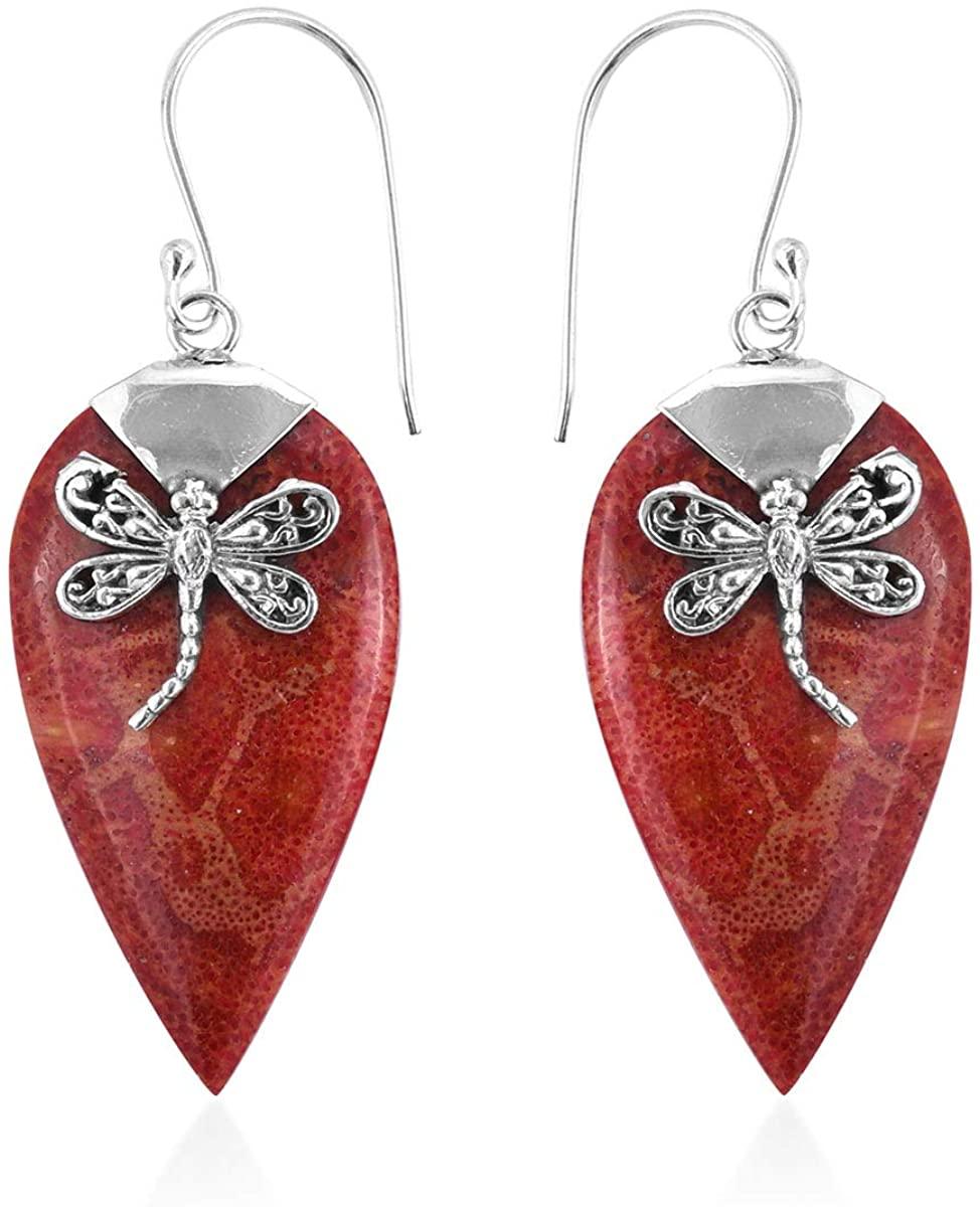 Dangle Drop Earrings 925 Sterling Silver Sponge Coral Jewelry for Women