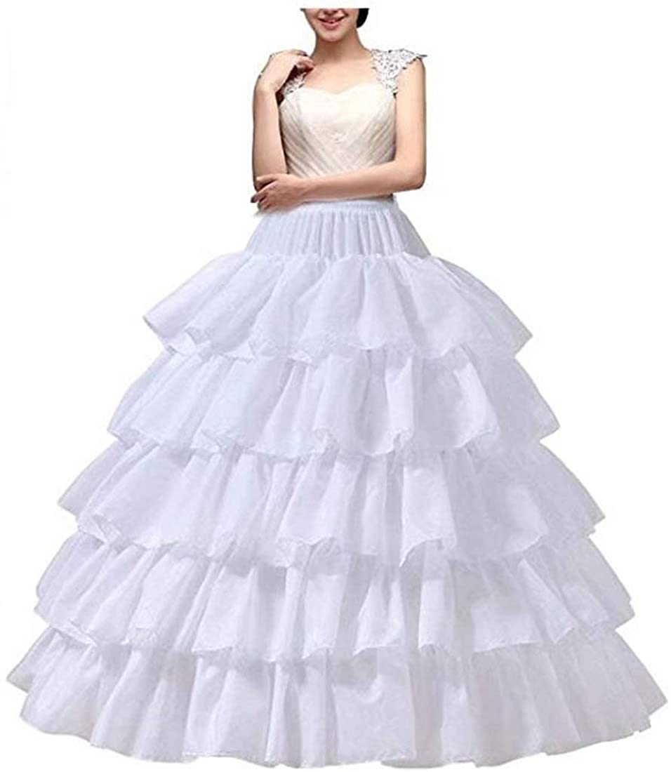 Women's Tulle Petticoats Skirt 5 Ruffles Layered Ball Gown Half Slips Underskirt for Bridal Dress