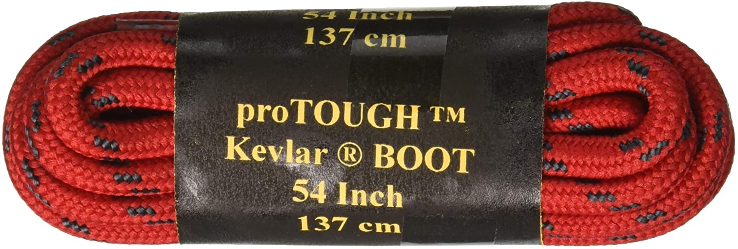 Red w/Black Heavy Duty 6mm Thick Round Kevlar reinforced proTOUGH Boot Shoelaces 2 Pair Pack (90 Inch 229 cm)