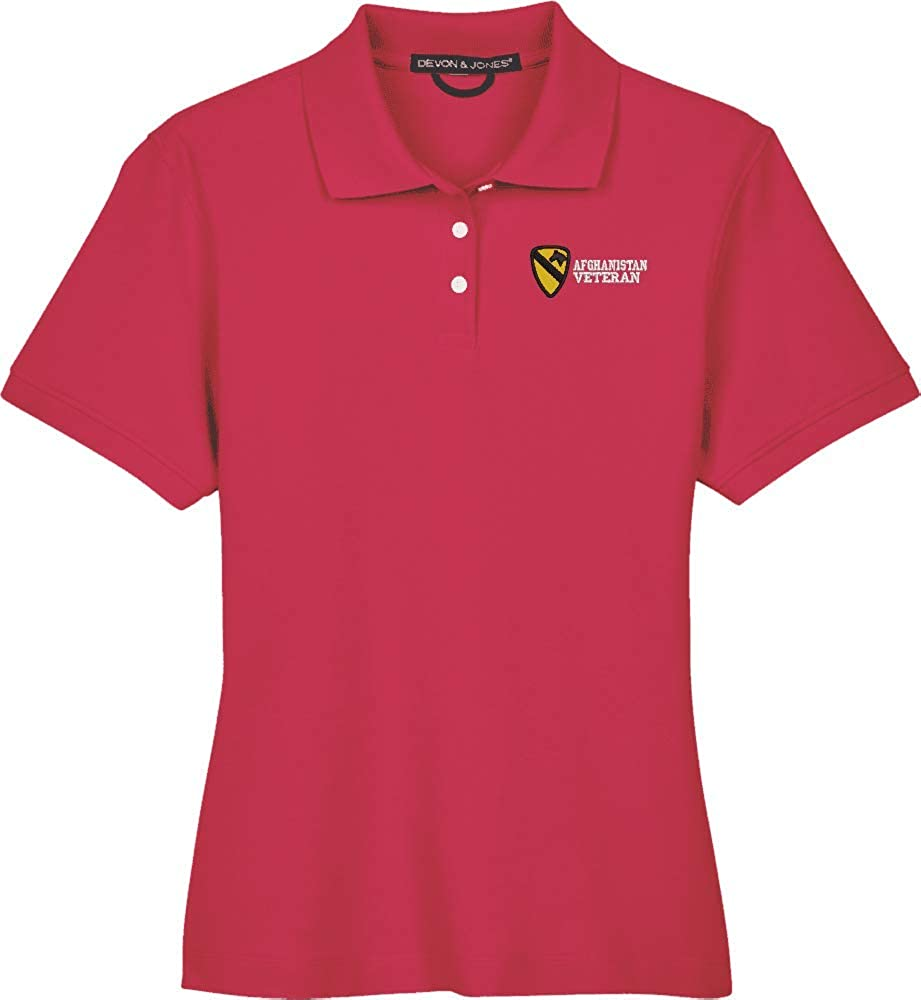 U.S. Army 1st Cavalry Division Afghanistan Veteran Women's Devon & Jones Polo Red