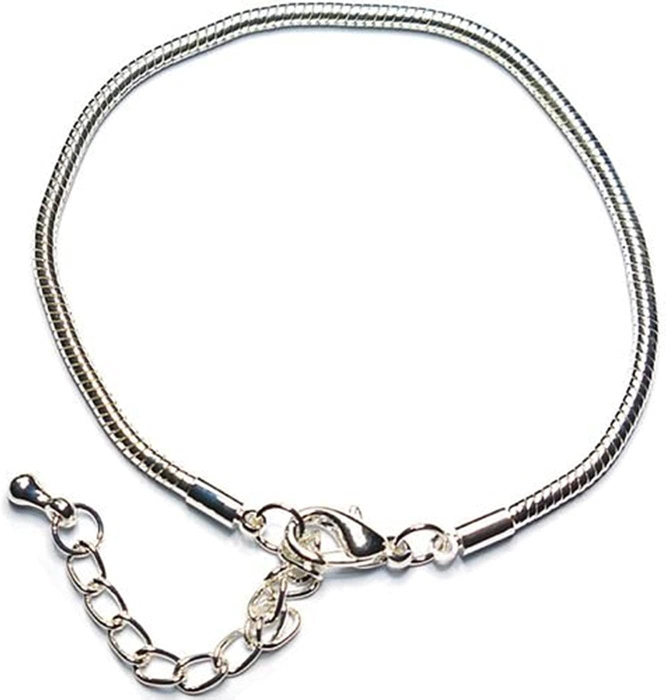 Charm Buddy 20cm Lobster Clasp Stopper Pandora Style Bracelet Fits Charms Beads