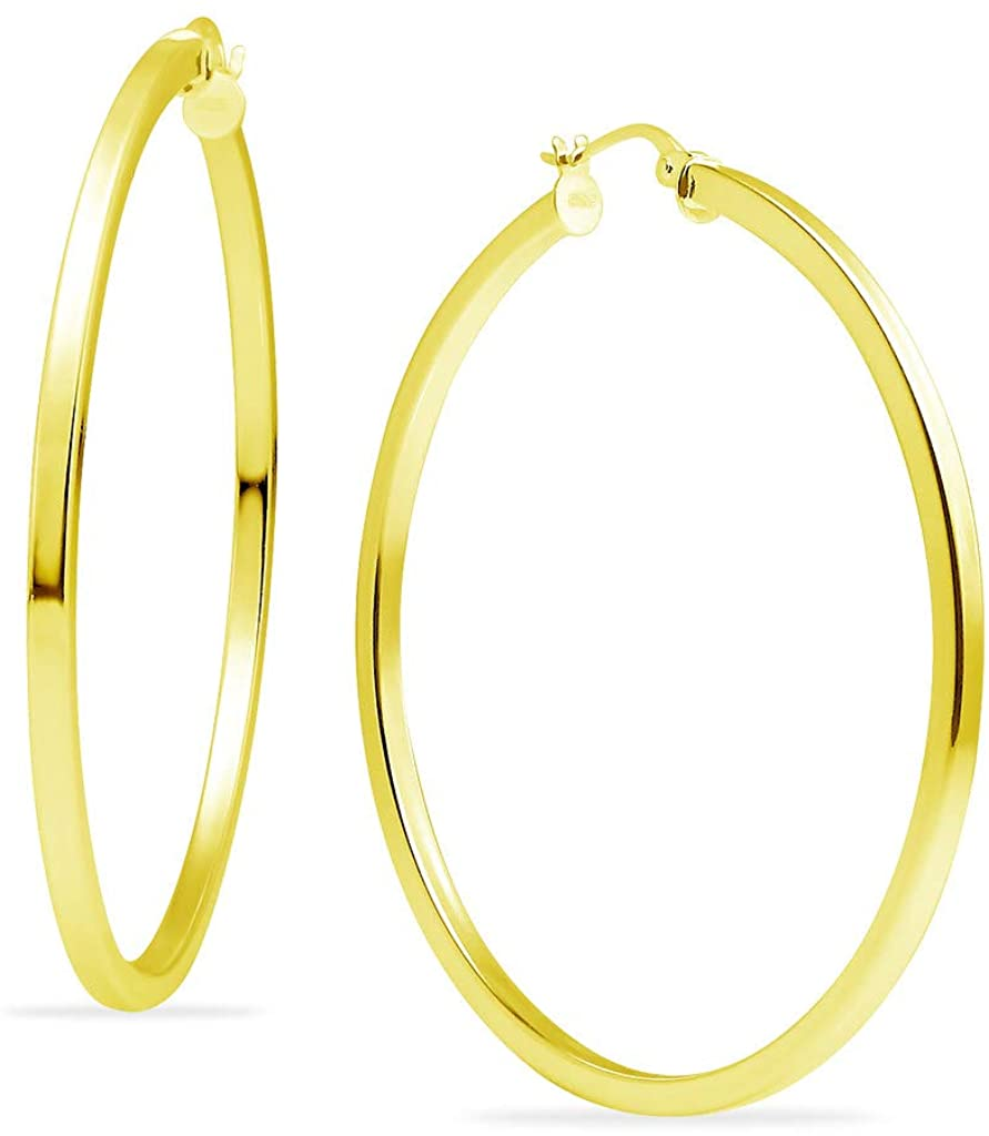 Polished Sterling Silver Square Tube Round Hoop Earrings 2mm for Women & Girls Yellow Gold Flashed Choose Your Diameter 15mm - 60mm