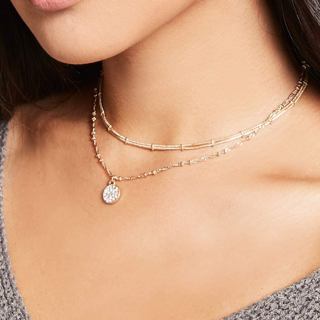 Edary Round Necklaces Layered Pendant Necklace Gold Bead Chain Choker for Women