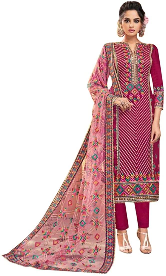 Festive Ethnic Party wear Viscose Upada Embroidered Salwar Kameez Indian Muslim Women Suit Custom To Measure 8601