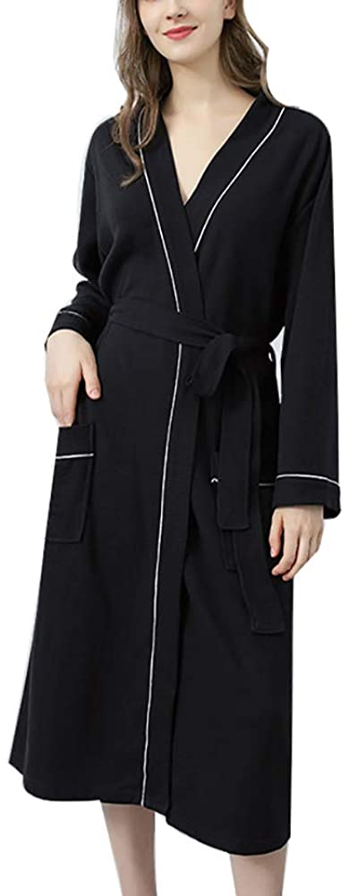 SAPJON Pajamas Womens Long Robes Solid Soft Cotton Bathrobes Housecoats Autumn Spring Khan Steam Clothes