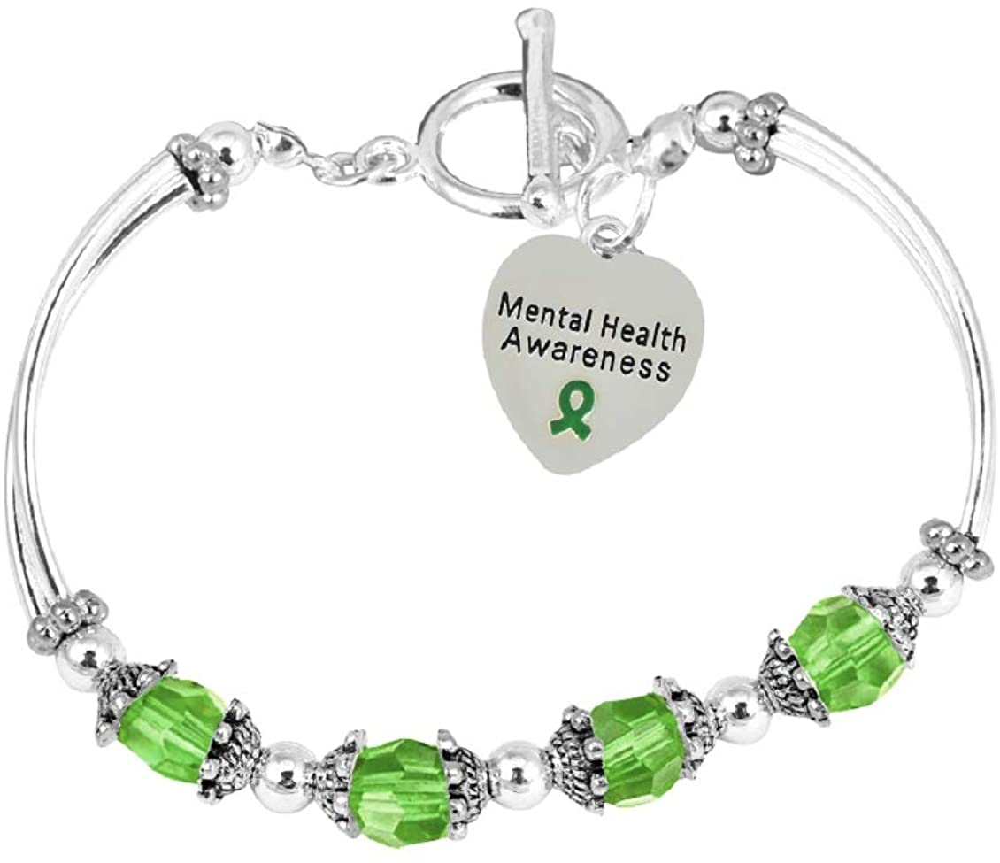Fundraising For A Cause | Mental Health Awareness Partial Beaded Charm Bracelets - Green Ribbon Bracelets for Mental Health Awareness