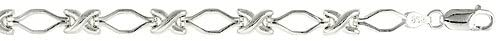 Sterling Silver 8 in. XOXO Hugs & Kisses Bracelet (Also Available in 7 in.), 1/4 in. (6.5mm) wide