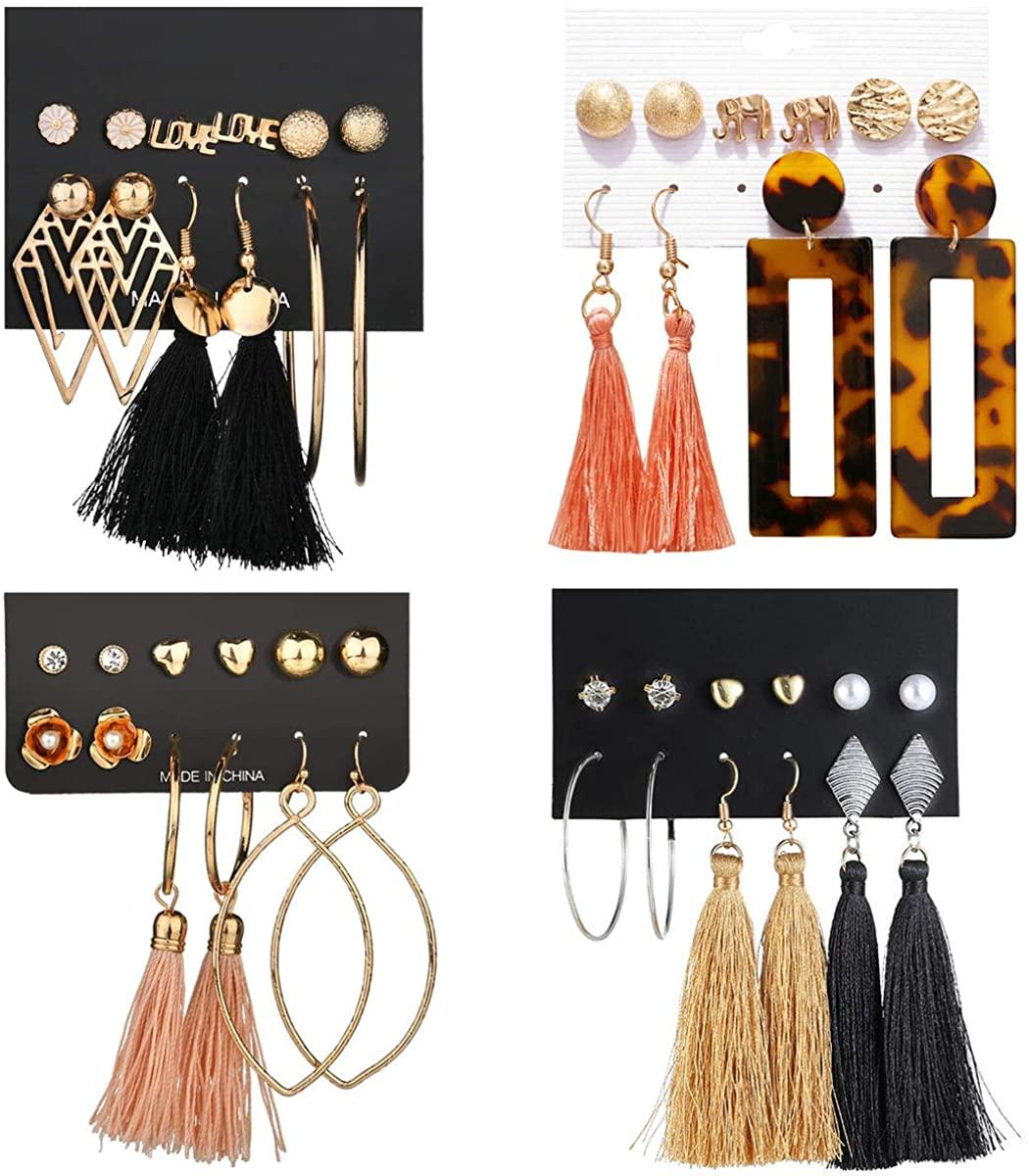WAINIS 23-44 Pairs Assorted Multiple Stud Hoop Dangle Earrings Set Women Girls Acrylic Round Ball CZ Bohemian Long Tassel Drop Earrings Pack