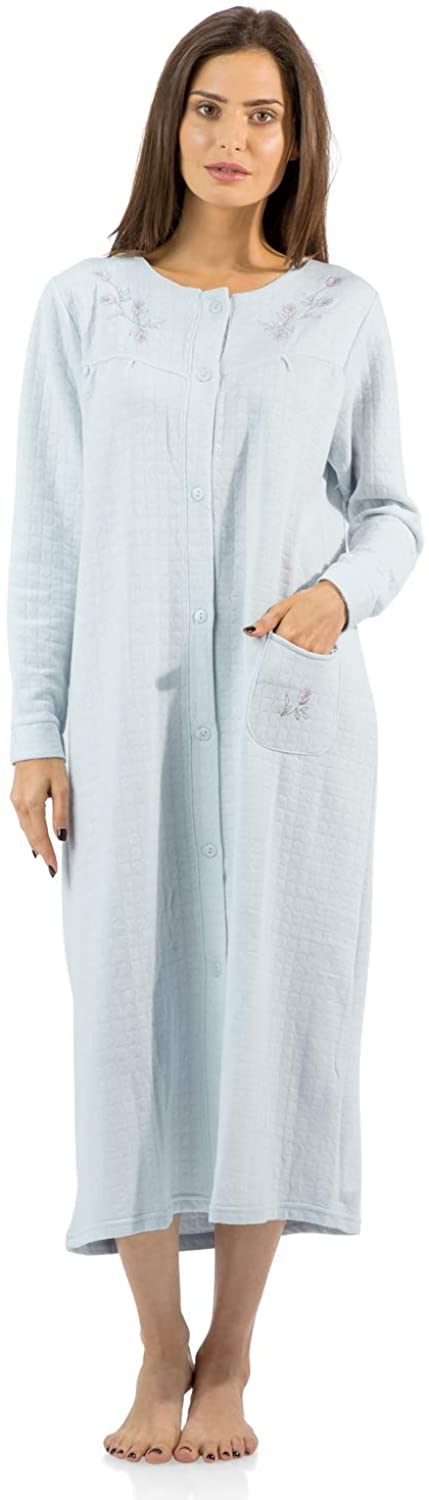 Casual Nights Women's Long Quilted Button Down Robe House Dress