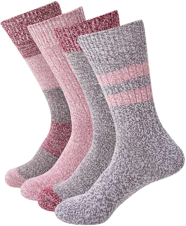 Sock Amazing Fashion Fuzzy Socks for Women Thermal Socks Winter 4 Pairs Thick Cozy Super Soft Socks Crew